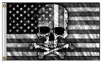 3'x5' American Flag with Skull [Black & White]